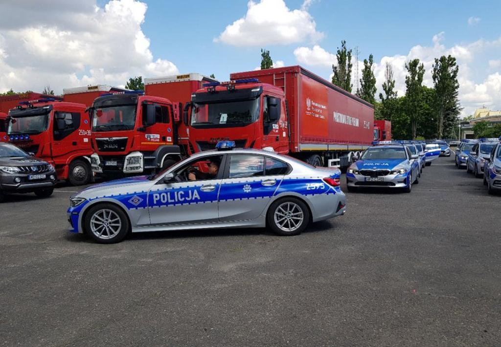Konwój z pomocą humanitarną dla Białorusi pod eskortą policji, Magazyn Ciężarówki