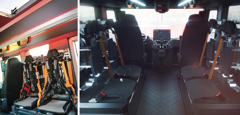 W przestrzennej kabinie do akcji może jechać 6 lub 9 strażaków.