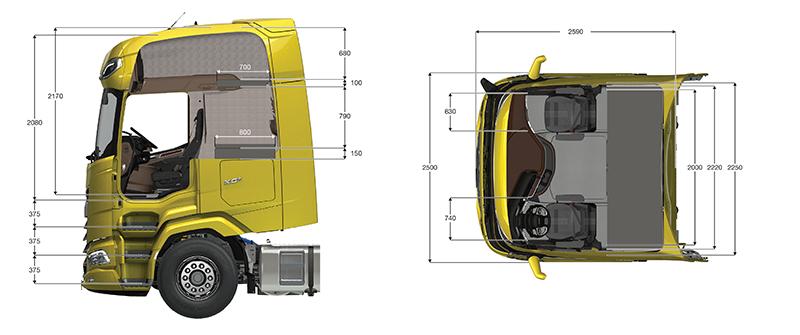 Wymiary największej kabiny XG+ robią wrażenie. To bęzie największa szoferka na rynku.